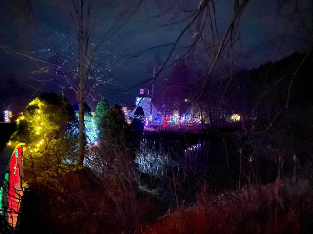 St. Martins, New Brunswick, Lighthouse at night with Christmas lights