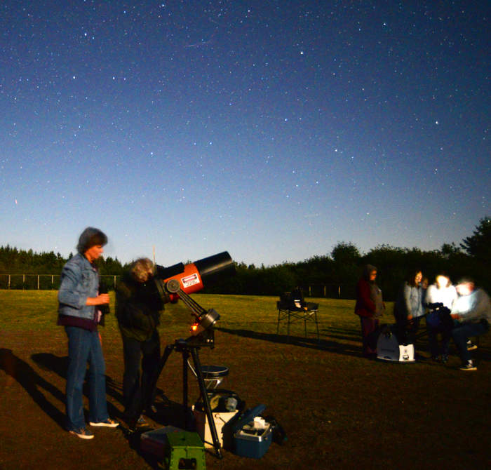 People observing the sky with a telescope at night.